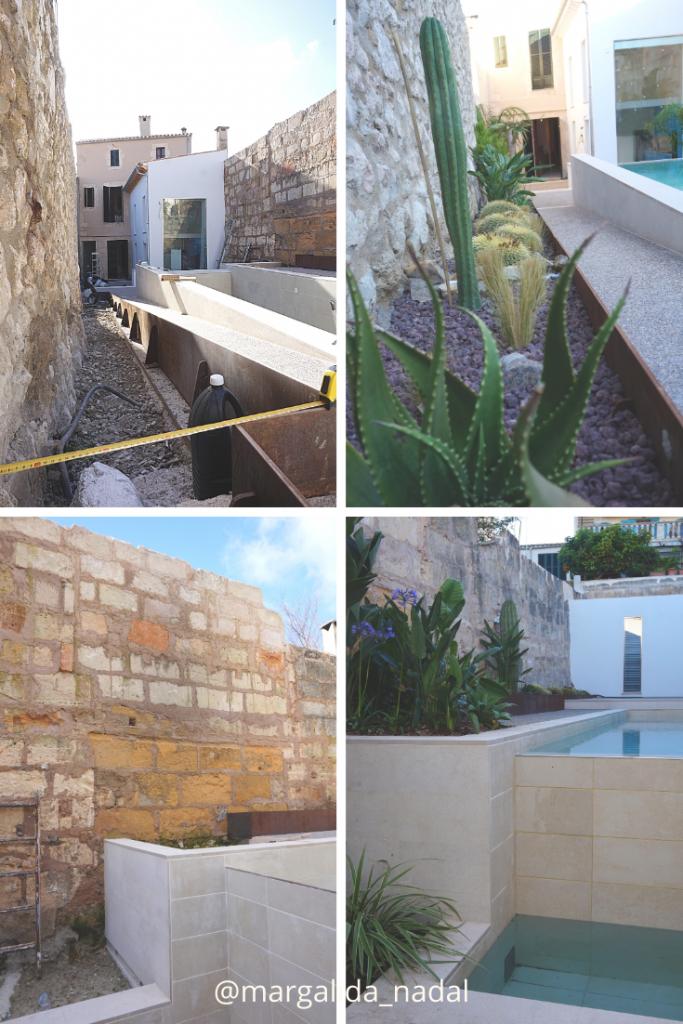 Antes y después jardín contemporáneo con estilo tropical y desértico.margalidanadal